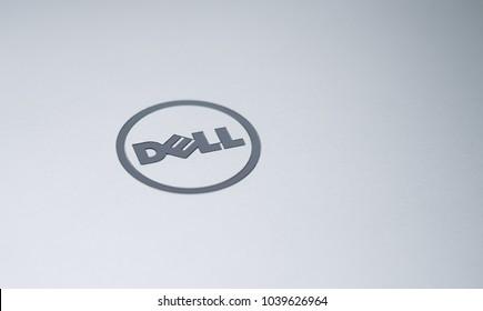 MISKOLC, HUNGARY - MARCH 4, 2018: Dell logo on a laptop's aluminium lid