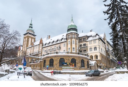 MISKOLC, HUNGARY - MARCH 4, 2018: Hotel Palota in Lillafüred, Miskolc. Hotel building covered in thick snow.