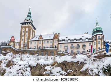 MISKOLC, HUNGARY - MARCH 4, 2018: Hotel Palota in Lillafüred, Miskolc. Hotel building situated on rocks and covered in thick snow.