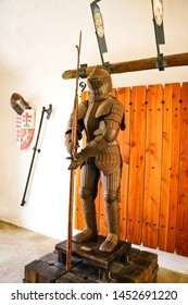 Miskolc, Hungary, May 20, 2019: A knight's armor with shining metal.