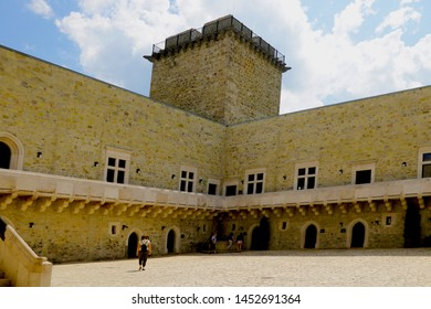 Miskolc, Hungary, May 20, 2019: The inner courtyard of the Diosgior fortress in Miskolc.