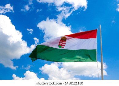 Miskolc, Hungary, May 20, 2019: Flag of Hungary at the Diosgior fortress in Miskolc.