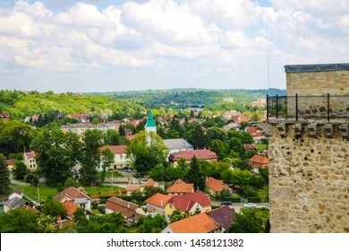 Miskolc, Hungary, May 20, 2019: View of the city of Miskolc of the Diosgior fortress.