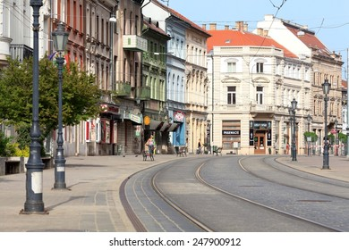 MISKOLC - MARCH 22: Main (szechenyi) street at early morning on March 22, 2013 in Miskolc, Hungary.
