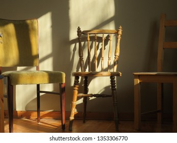 mismatched chairs arranged