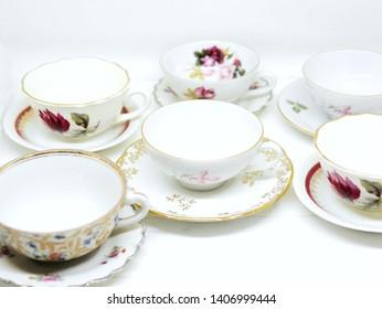 Mismatched vintage french tea cups