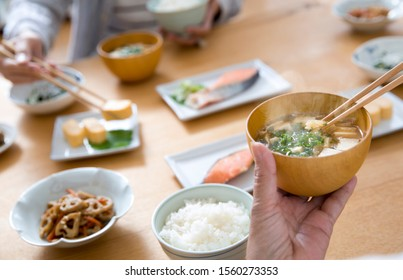 Miso soup, rice, Japanese food, breakfast, eat