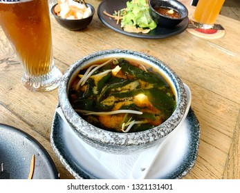 Miso soup. It is traditional japanese food.