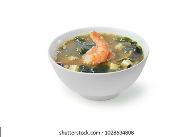 miso soup with unagi shrimp. isolated on white background