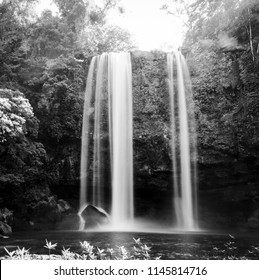 Misol Ha waterfall in early morning sunlight near Palenque in Chiapas, Mexico in black and white