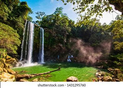 Misol-Ha Waterfall, Mexico - November 24, 2010. Waterfall in sunset, Yucatan peninsula, Chiapas
