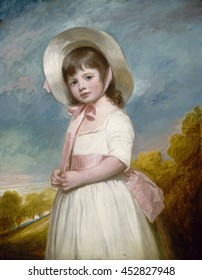 Miss Juliana Willoughby, by George Romney, 1781-83, British painting, oil on canvas. The only child of an Oxfordshire baron, the sitter is painted pastel tints of the three primary hues: red, yellow,