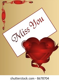 Miss You - Love card - vector illustration