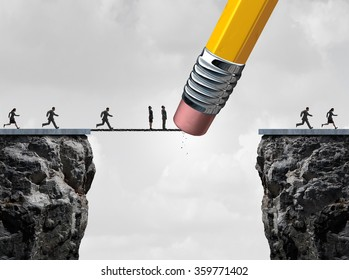 Missed opportunity concept and too late symbol as slow  and delayed business people stuck on a bridge because an eraser erased the path with other quick employees continuing the race.