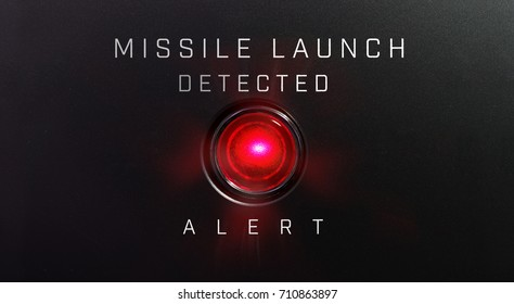 """MISSILE LAUNCH DETECTED"" warning or alert indicator, in red."