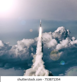 Missile launch. The elements of this image furnished by NASA.