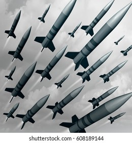 Missile weapon attack as a nuke or nuclear war threat concept as a group of ballistic bombs being launched for destruction as a 3D illustration concept.