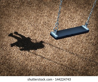 Missing child concept with an empty playground swing and the shadow of a little girl on the park floor as a symbol of children losing their childhood as being lost in a failed adoption or despair.
