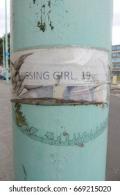 MISSING GIRL 19 - A poignant sign on a lamp post in Plymouth, Devon