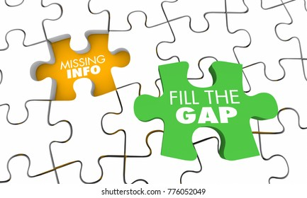Missing Information Puzzle Fill Gap Knowledge 3d Illustration