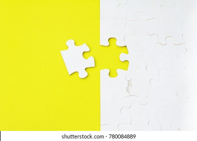 Missing jigsaw puzzle pieces. Business and life concept. Completing final task