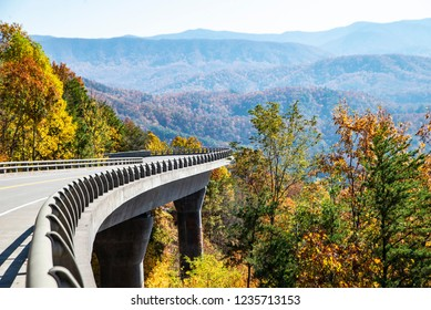 Missing link road section of the Foothills Parkway in fall colors.