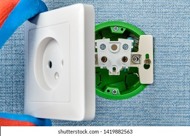 Missing outlet cover of electrical power point during installation.