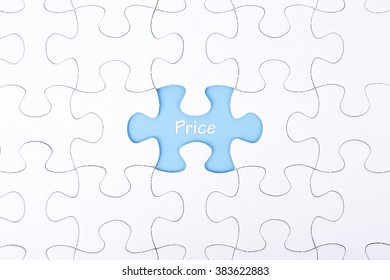 Missing a piece of puzzle in the center, blue space with word PRICE, business and financial concept.