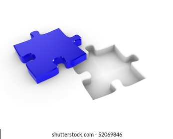 The missing piece of a puzzle, fitting into place