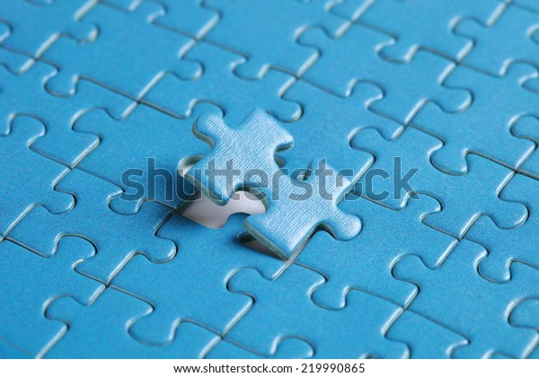 The missing piece of puzzle, success, teamwork and finishing or ending