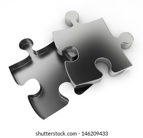 Missing puzzle. 3d illustration on white background