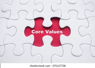 Missing puzzle with Core Values word
