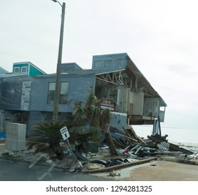 Missing Walls on Condominium and Debris in the Aftermath of Hurricane Michael in Mexico Beach Florida