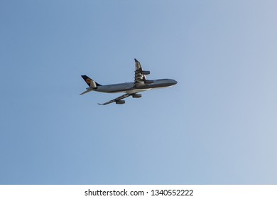 Mission Beach, CA / USA -February 17, 2019: D-AIFD Lufthansa Airbus flying over San Diego, California.