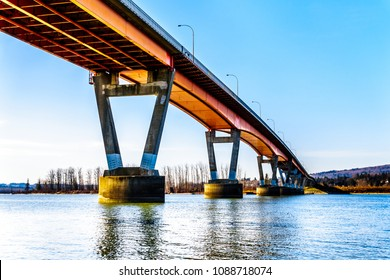 Mission Bridge over the Fraser River on Highway 11 between the towns of Abbotsford and Mission in British Columbia, Canada