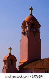 mission church with large and small bell towers