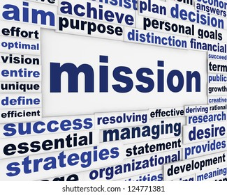 Mission creative words poster design. Creative goal conceptual background