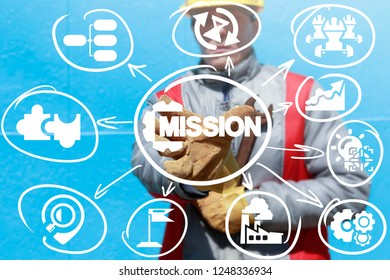 Mission industry 4.0 automation concept. Engineer stretches his hand to mission cog wheel icon on a virtual screen.