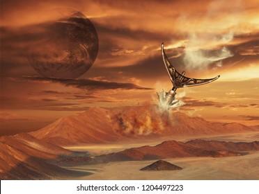 Mission to Mars. Futuristic concept. Mixed media