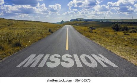 mission on asphalt road