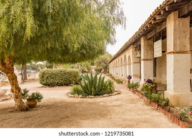 Mission San Miguel Arcángel garden, San Miguel, California, USA. One of the series of 21 Spanish religious outposts in Alta California founded by Father Junípero Serra.