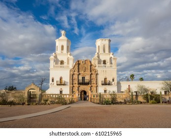 Mission San Xavier del Bac is a historic Spanish Catholic mission located about 10 miles (16 km) south of downtown Tucson, Arizona, on the Tohono O'odham San Xavier Indian Reservation.