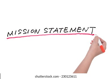 Mission statement words written on white board