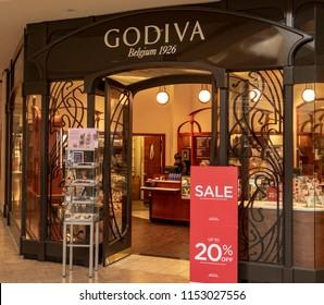 Mission Viejo, CA / USA - 08/07/2018: Godiva Store at the Mission Viejo Mall
