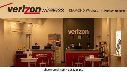 Mission Viejo, CA / USA - 08/22/2018: Verizon Wireless Retail Store