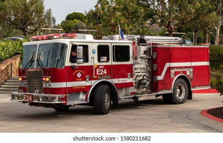 Mission Viejo, CA / USA - 12/1/2019: Santa Claus Arrives by Firetruck