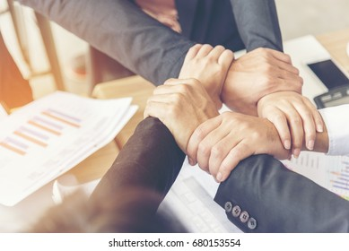 Mission vision business corporate team building corporate teamwork industry job.Mission strategy for start up business people holding hands fist bump together. Leadership Mission vision values Concept