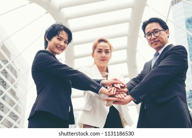 Mission vision business team building identity corporate teamwork industry and workforce.  Mission and strategy for business people holding hands together group of leadership. Mission Vision Concept.