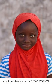 Missirah, Senegal - November, 21, 2018: potrait of child in the school of the village