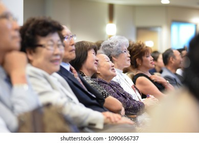 MISSISSAUGA - AUGUST 13:  Church goers listening to  Pastor Hyeon Soo Lim who was held in North Korea for over 2 years on August 13 2017 in Mississauga, Canada.